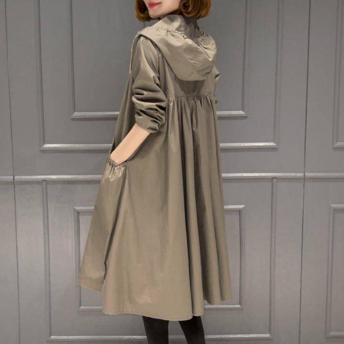2020春秋季新款韓版時尚連帽中長款過膝百搭寬鬆顯瘦風衣外套女