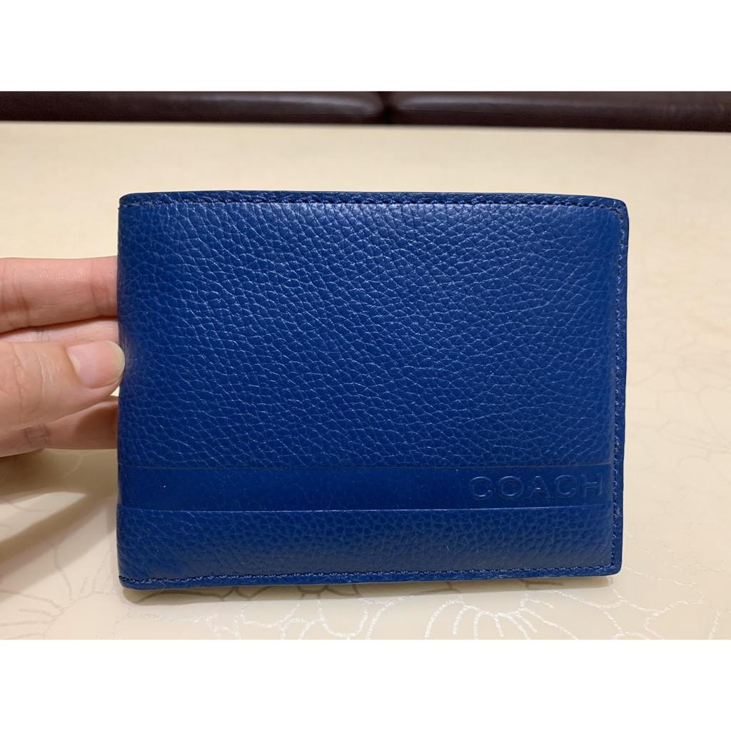 COACH 撞色三合一皮夾 深天空藍色/正海軍藍色男子皮夾- f74280 藍  美金原價