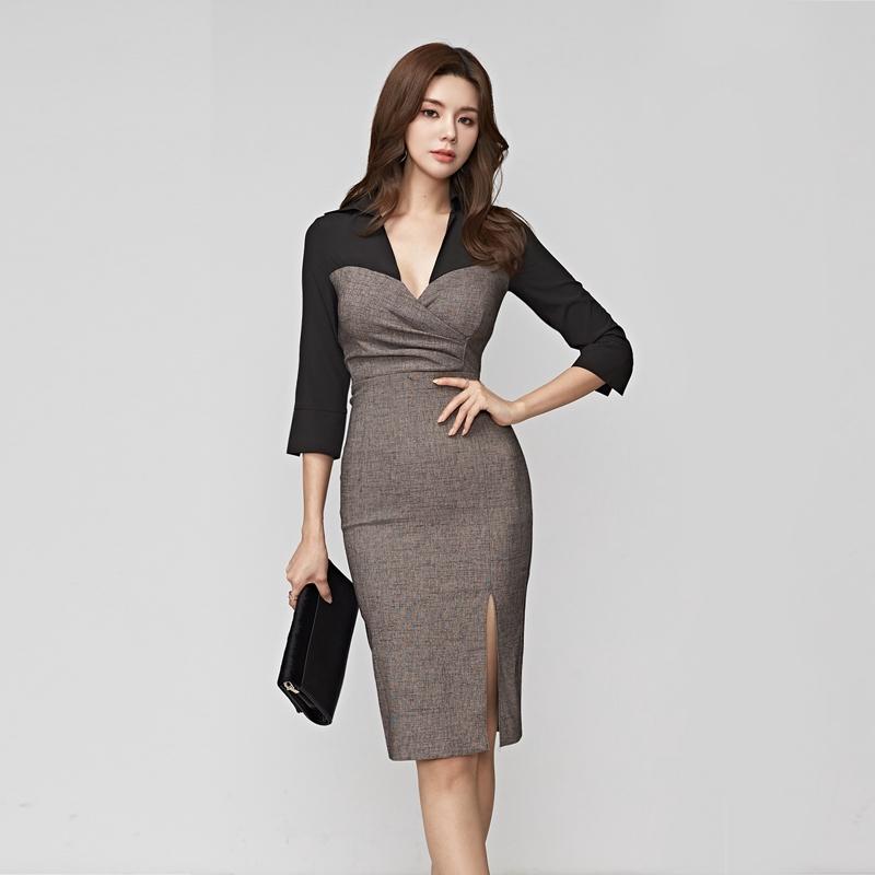 撞色七分袖顯身材連身洋裝officelady女生氣質合身窄裙中長洋裝工作酒會宴請洋裝禮服