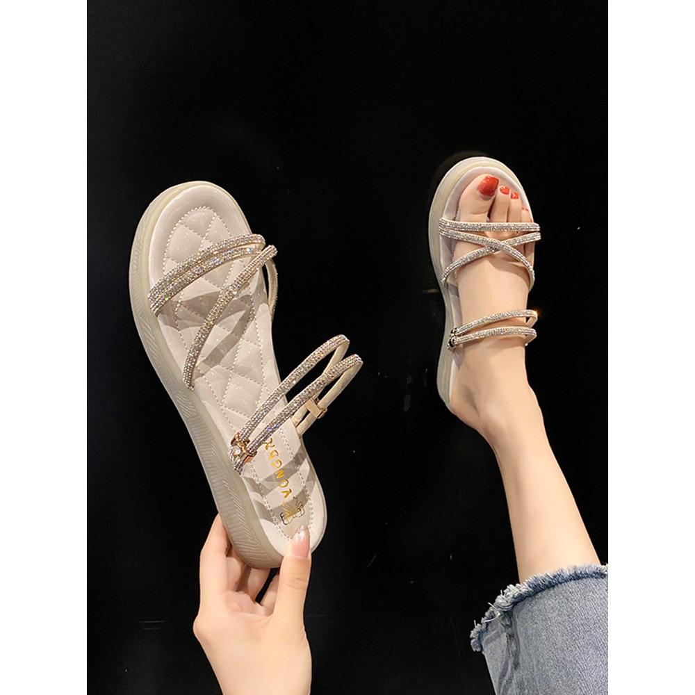 水鑽兩穿拖鞋女平底涼拖鞋 涼鞋 羅馬涼鞋 楔型涼鞋 其他涼鞋 拖鞋 ipanema 涼鞋 skechers 涼鞋 帝安諾