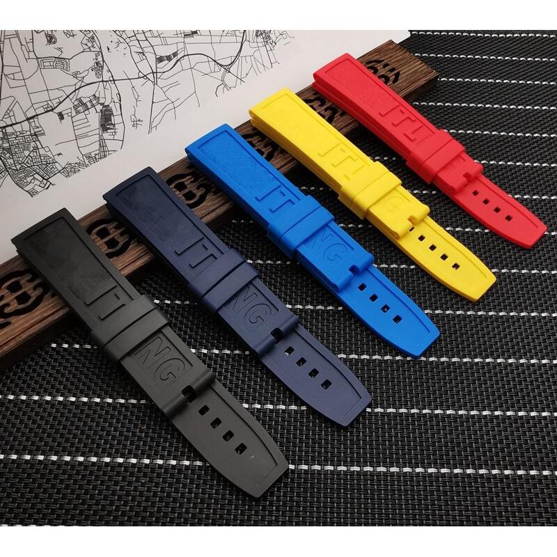 Navitimer / Avenger / Breitling 錶帶的矽橡膠矽膠錶帶 22mm 24mm 黑色紅色藍色黃