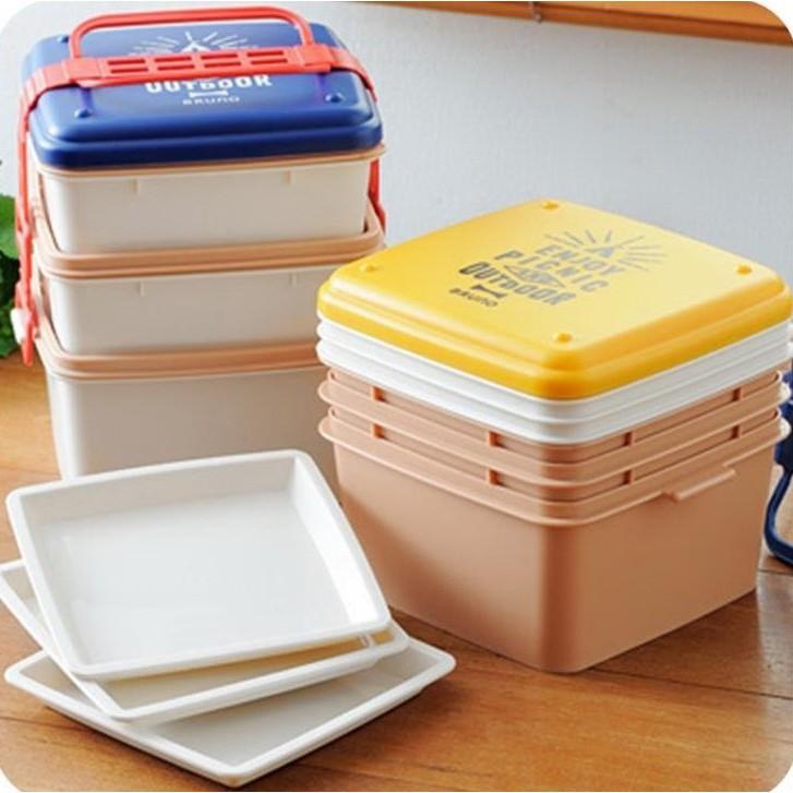 【日本BRUNO】風格野餐三層便當盒方形(共2色)BHK092