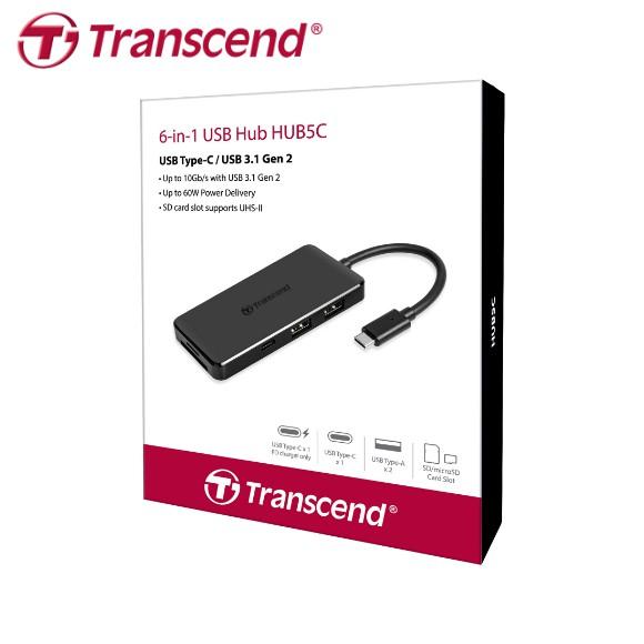 創見 Transcend HUB5C 最新款六合一集線器 大小卡雙卡槽 USB Type-C USB 3.1 原廠公司貨