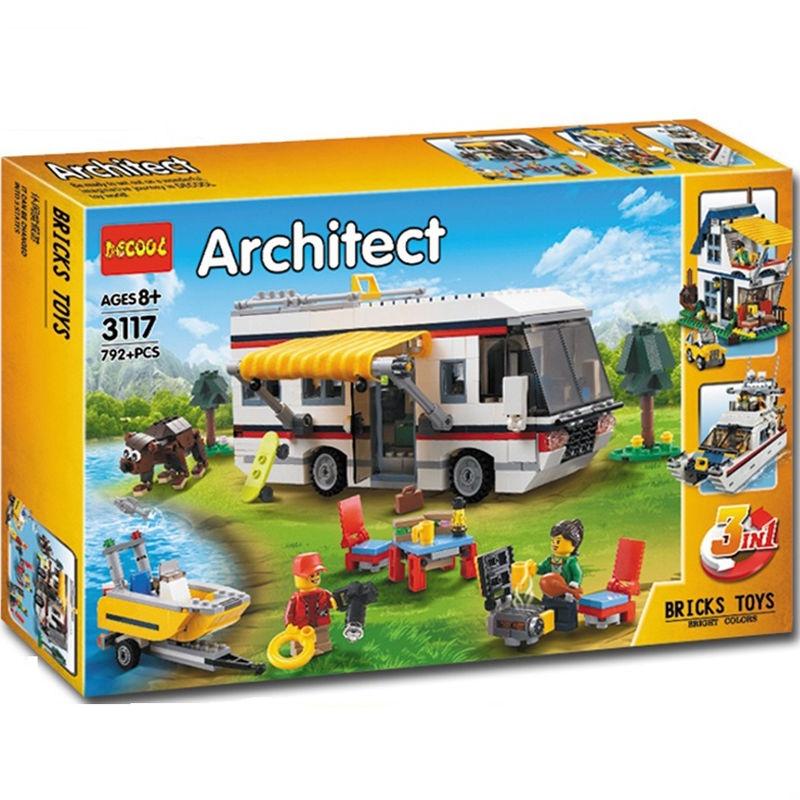LT 兼容樂高度假露營車31052創意百變CREATOR三3變拼裝積木益智玩具❤