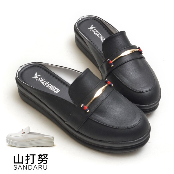 穆勒鞋 金釦皮革紳士拖鞋厚底鞋【329A8665-46】山打努SANDARU