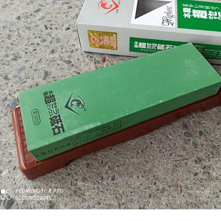 水里菜刀王 日本製角砥石 超級陶瓷砥石SS-1000  NANIWA 蝦印   附底座送大修正石 研磨特殊粉末鋼超級青紙