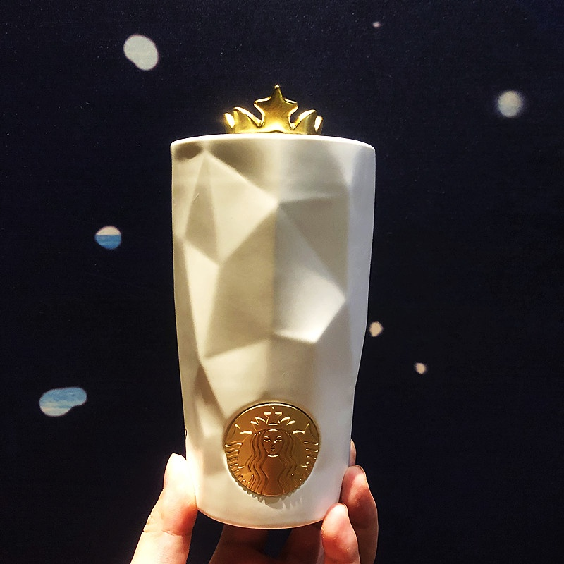 星巴克50週年杯子雙魚尾金色皇冠復古女神雙層陶瓷多菱形馬克水杯