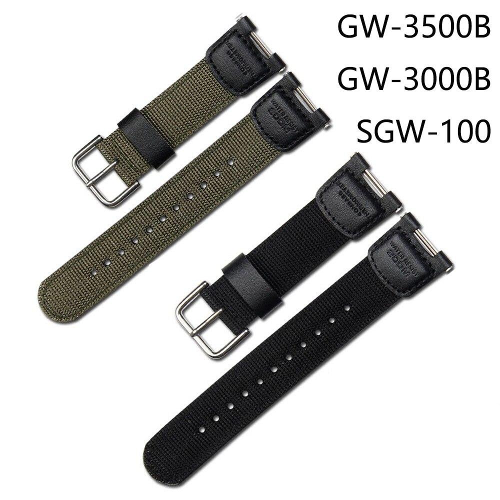 軍綠色尼龍錶帶錶帶適用於卡西歐錶帶 Sgw100 Sgw200 黑色手錶手鍊錶帶配件