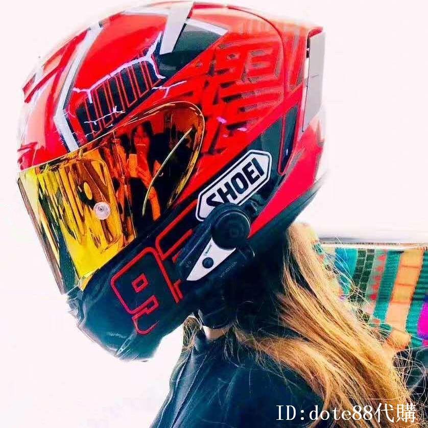 SHOEI X14經典93號黑紅螞蟻機車頭盔男女四季新款透氣保暖情侶全罩安全帽雙D釦扣摩托重機騎乘賽車防摔保護跑盔 代購