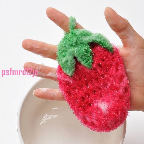 特惠# 超萌 出口韓國可愛草莓水果 洗碗巾 百潔布 刷碗布 不沾油不傷手