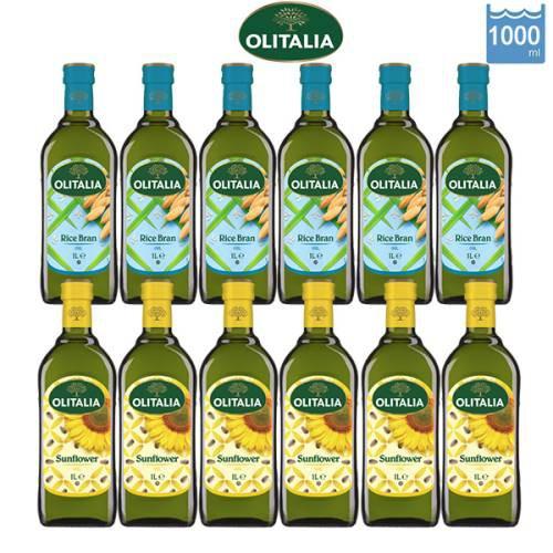 【Olitalia奧利塔】玄米油+葵花油1000mlx12瓶
