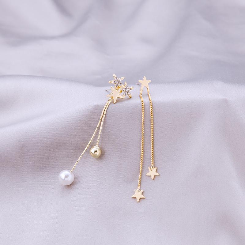 【免運】ins潮星星耳環 長款不對稱垂墜耳環長流蘇珍珠耳墜耳飾品 禮物