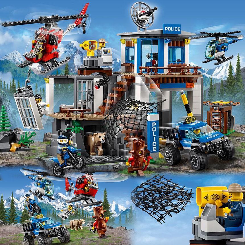 城市系列山地特警總部警察局山地追擊空中追捕兼容樂高積木玩具