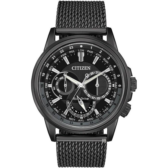 CITIZEN 星辰 光動能 三眼多功能 手錶 (BU2025-76e) 黑殼。