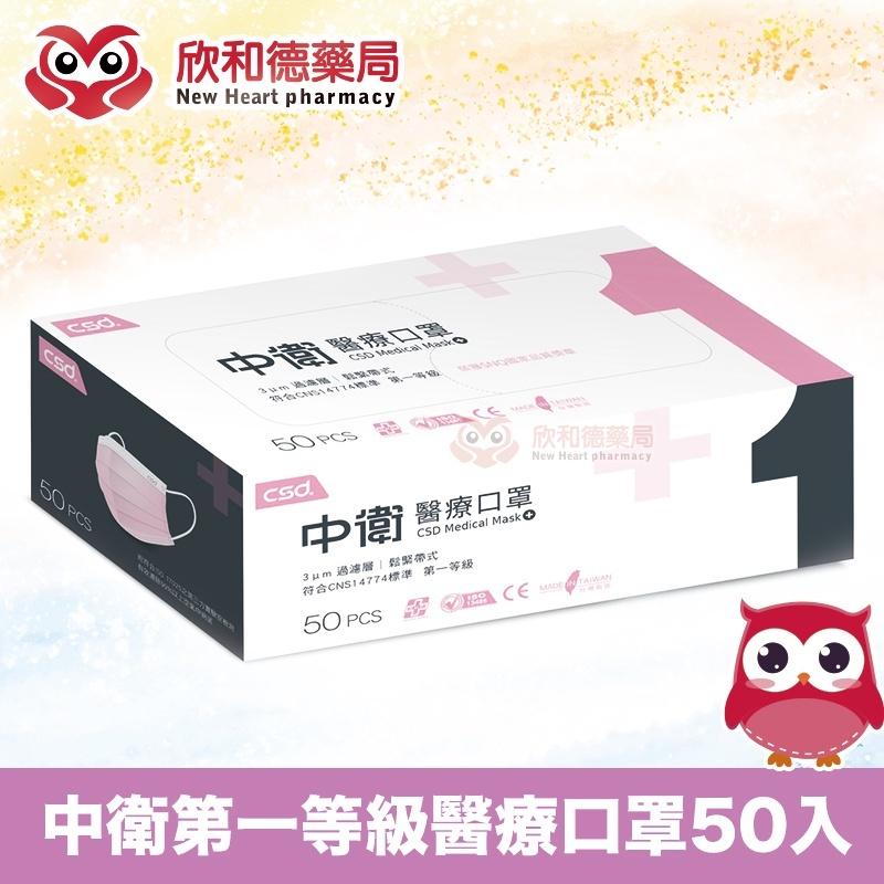 中衛第一等級醫療防護口罩 薄款(粉紅)/未滅菌 50入【欣和德藥局】