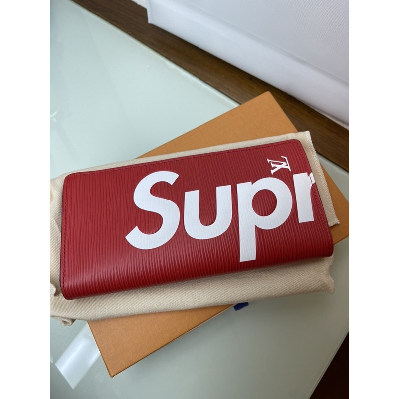Lv x Supreme 極限量 聯名款 紅色白底logo長夾 全新品 未使用