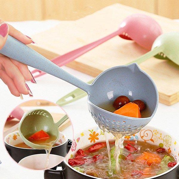 多功能盛湯勺子 小麥秸稈湯勺子 漏勺二合一火鍋廚房多用途