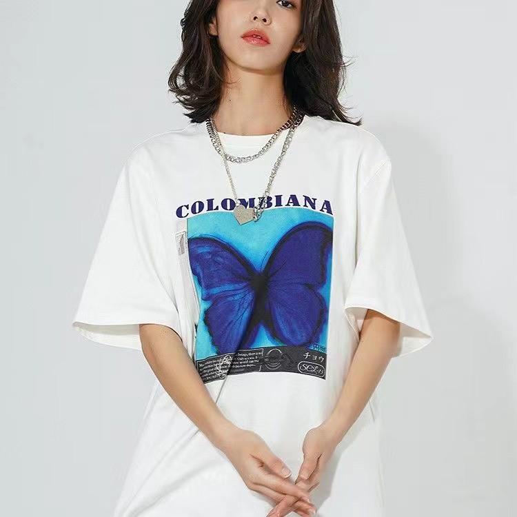 CBIANA/20SS 劉宇同款嘻哈水墨蝴蝶印花短袖T恤 國潮半截袖男女