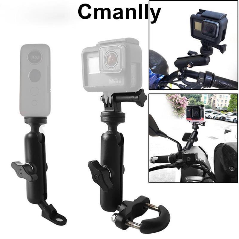 用於 Gopro Hero98765 Insta 360 相機配件的摩托車自行車相機支架車把後視鏡安裝支架Cmanlly