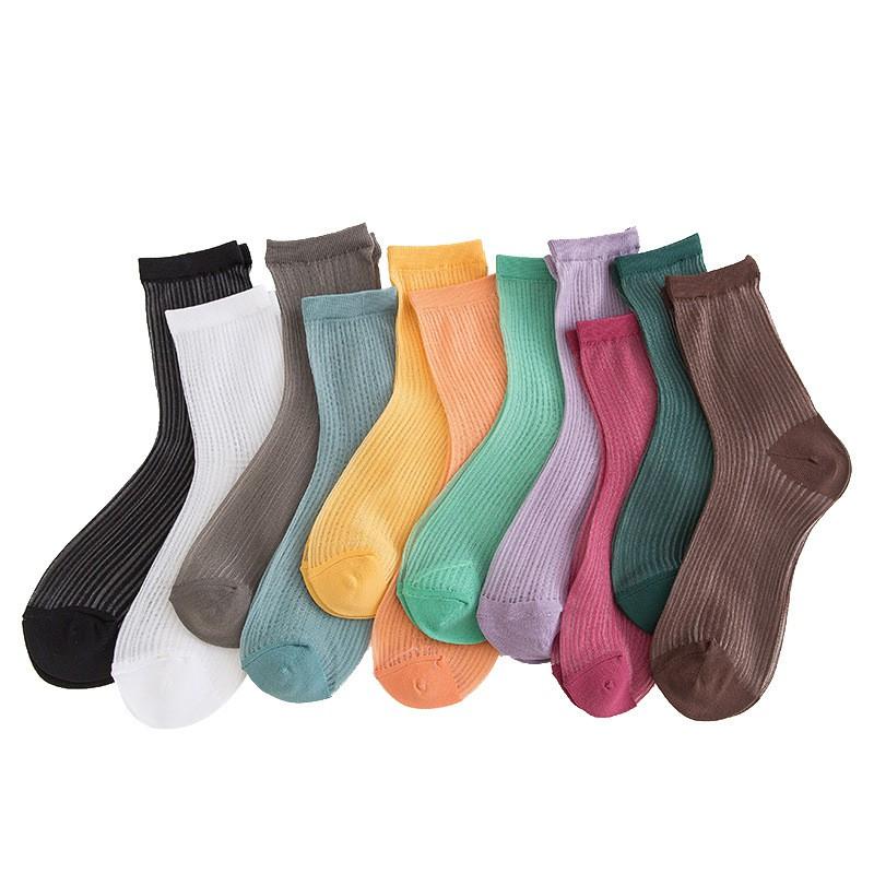 大唐襪業 D445現貨卡絲襪子女ins潮薄款豎紋透明玻璃絲中筒襪不易勾絲水晶短襪