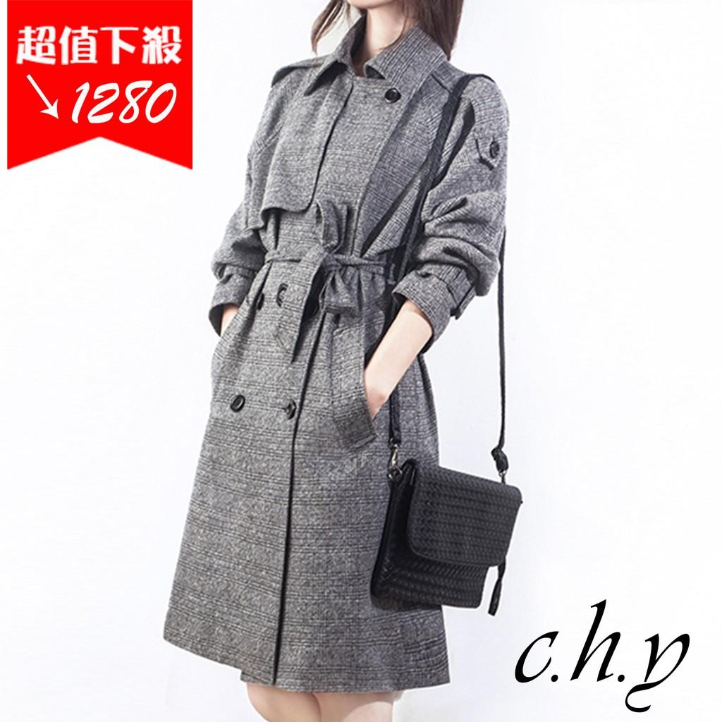 時尚優雅氣質格子格紋中長款修身寬鬆小中大尺碼百搭大衣雙排扣風衣外套-夾棉加厚款-S-3XL-19107065