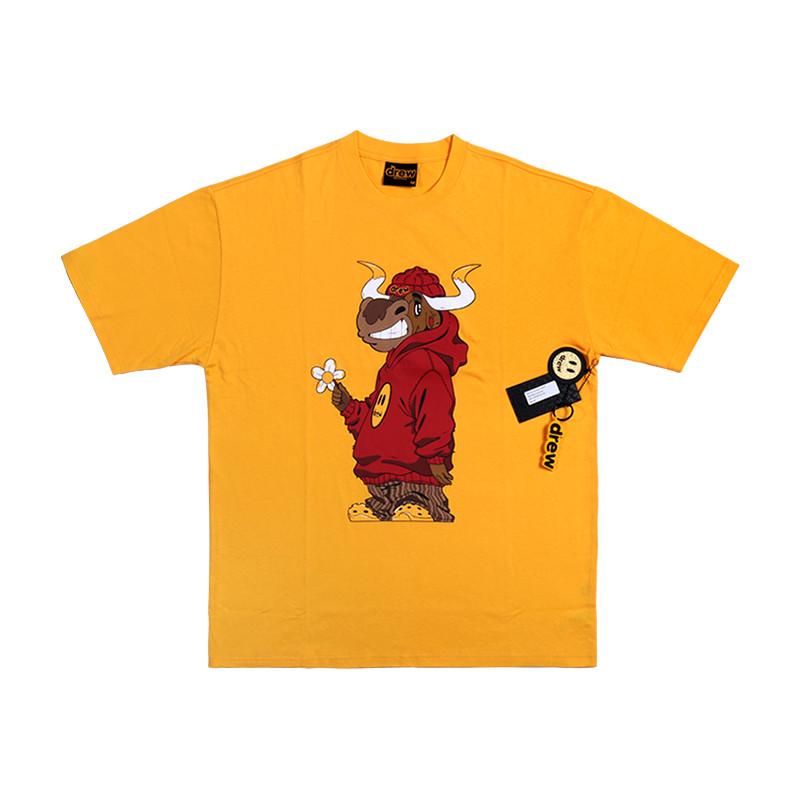 代購 drew house 笑臉公牛短袖牛年限定網紅款高街潮流寬松黃色純棉T恤