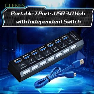 GLENES 高速黑色USB集線器3.0USB集線器2.04埠7埠USB分路器轉接器