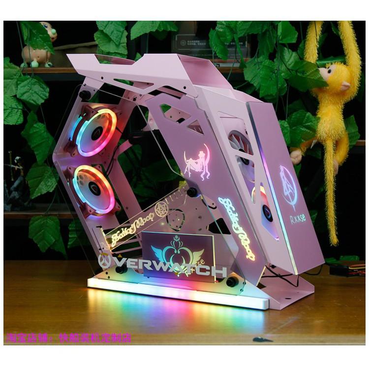 現貨速發  電腦機殼 PC機殼 電競機殼 電腦機箱粉色機箱diy透明少女可愛兔子個性炫酷臺式電腦主機外殼小咖機箱