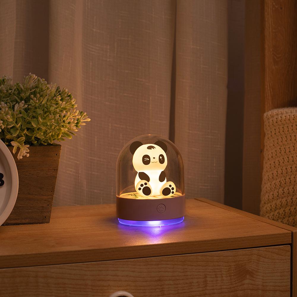 卡通小熊香薰燈創意USB充電紫外線消毒燈 學生臥室床頭七彩小夜燈
