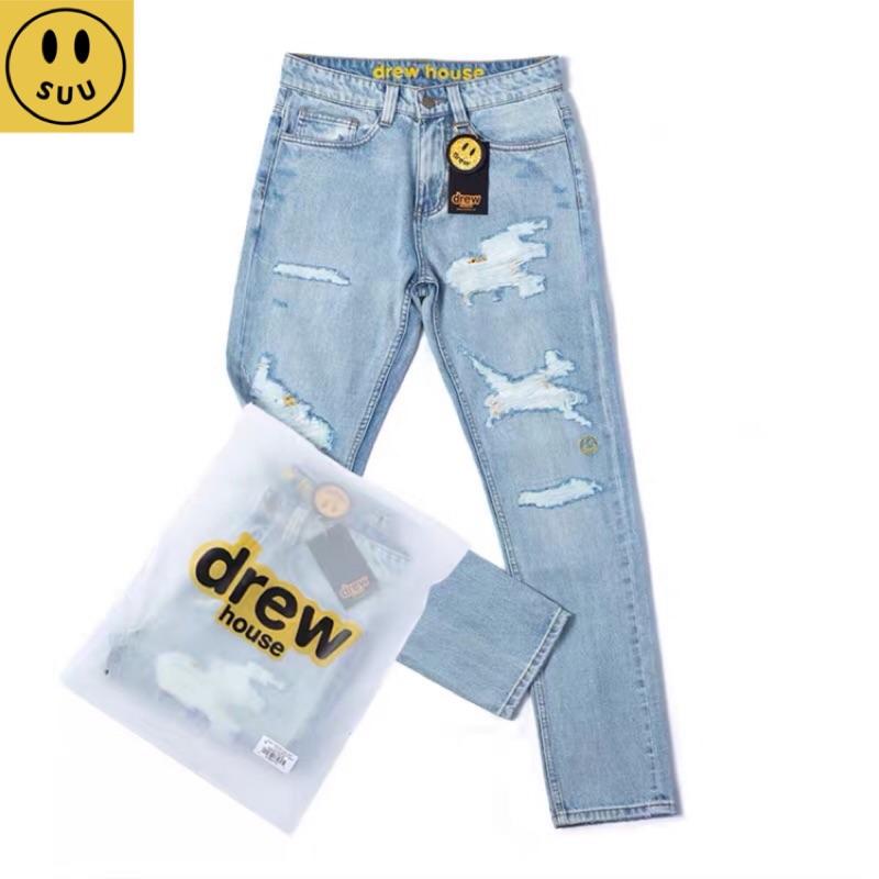 [Suu代購]Drew House 歐陽娜娜同款 水洗破洞刺繡笑臉牛仔褲