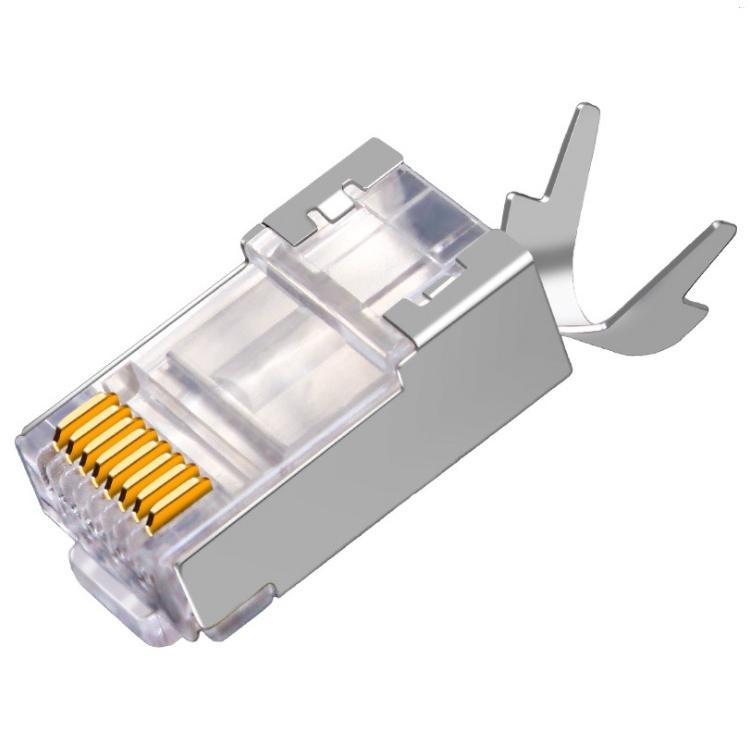 【勁昕科技】超六類尾夾水晶頭CAT6A萬兆屏蔽電腦網路線RJ45連接頭屏蔽銅殼兩件式