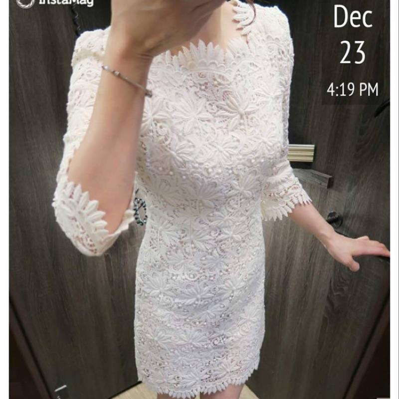緹花蕾絲浪漫7分袖洋裝
