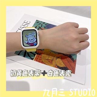 奶黃色錶帶+白色錶殼 適用於 Apple Watch 3 4 5 6 SE 蘋果手錶矽膠錶帶38/ 42/ 40/ 44m 桃園市