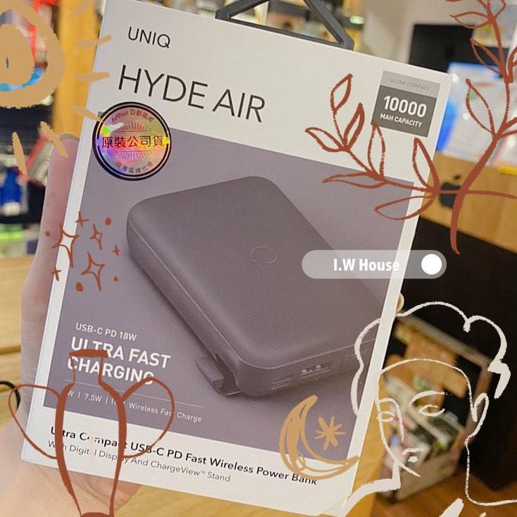 *影片介紹*UNIQ|HydeAir 10000mAh 無線快充帶支架螢幕行動電源 黑色