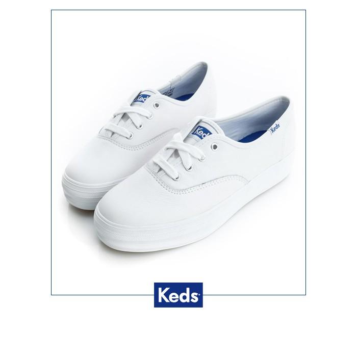 【Keds】品牌經典厚底皮質綁帶休閒鞋9173W132224-白色/ 女-原價2690元