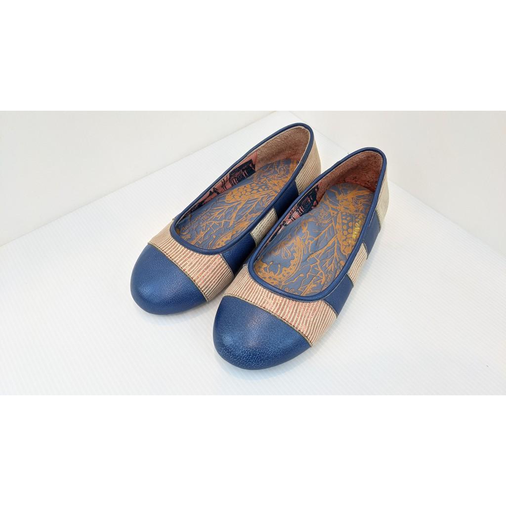 [鸚鵡鞋鋪]小尺碼22號超優惠出清!MACANNA麥坎納 雙彩相間紋真皮氣墊包鞋 樂福鞋 平底鞋(灰X藍)