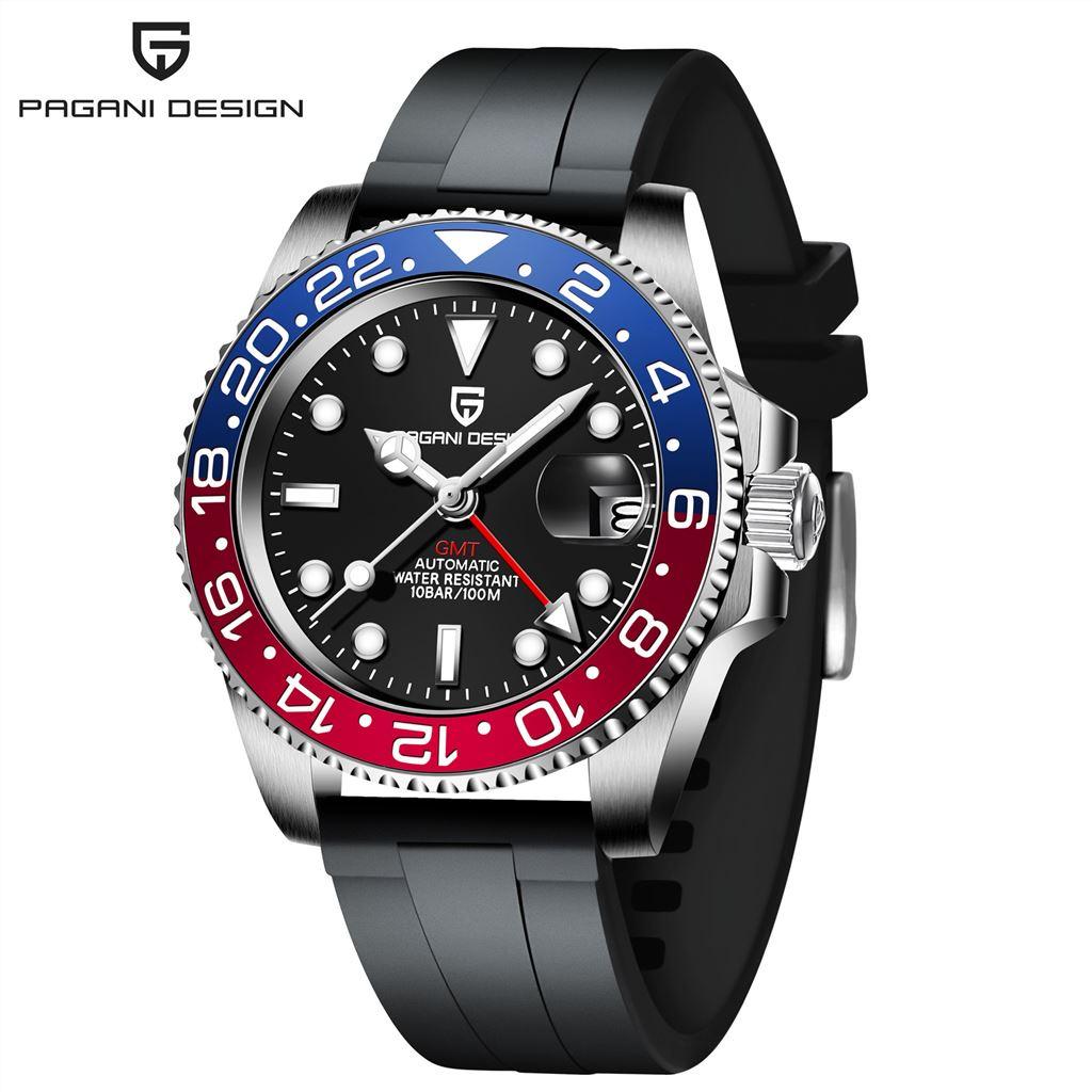 PAGANI DESIGN伯佳尼潮男士機械手錶GMT兩地時針夜光行事曆PD-1662