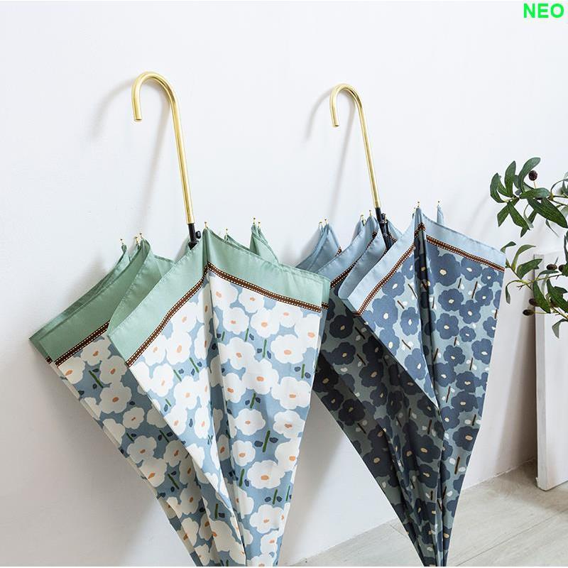 【朵朵雲裝飾】日本客訂設計小清新綠色超輕超細金柄淑女長柄晴雨抗風雨傘遮陽傘
