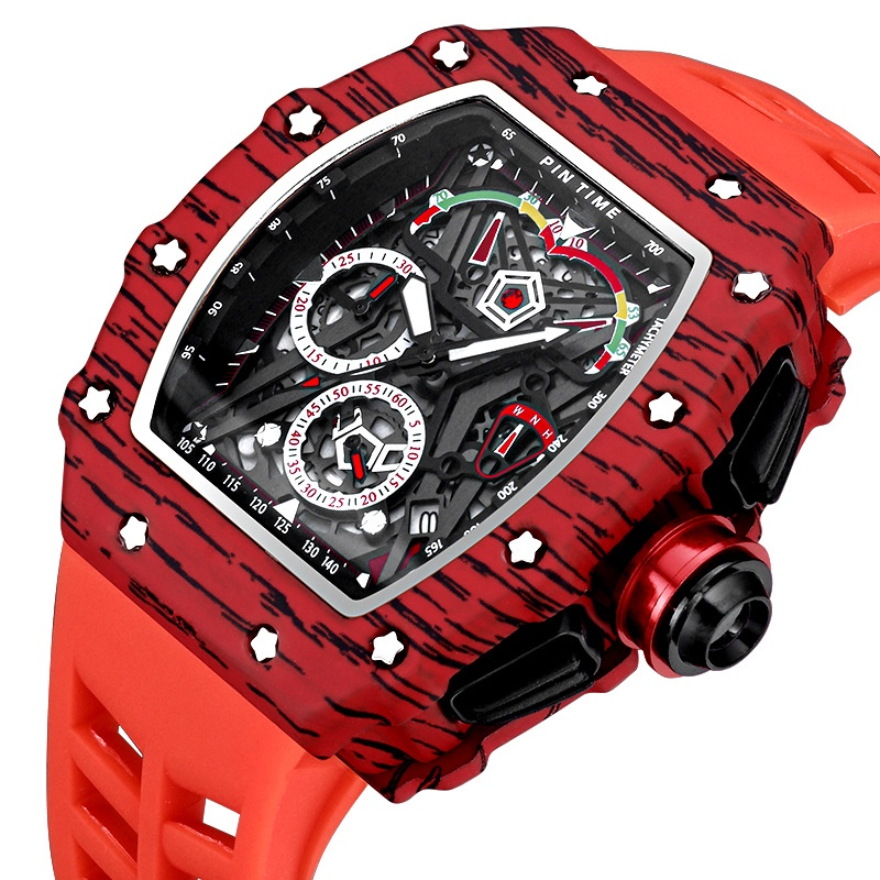 台灣熱賣手錶!!PINTIME/品時 PT8132 碳纖維 酒桶型手表男士 非機械表石英表腕表#AU24