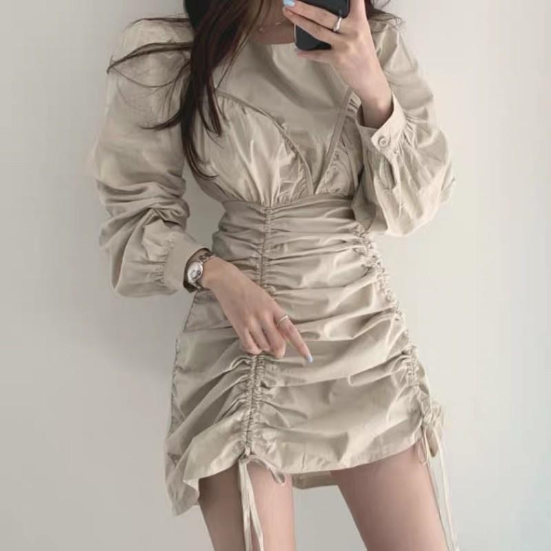 韓版杏色小姐姐風抽繩皺皺連身洋
