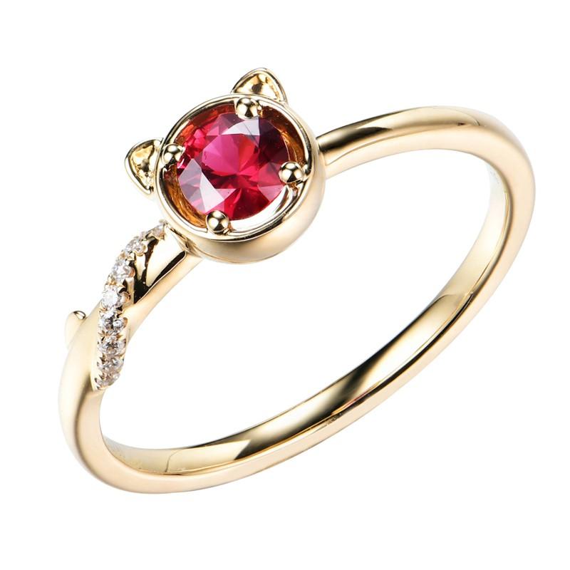 【巧品珠寶】18K 天然紅寶石 伴鑲鑽石 可愛喵造型設計款 戒指