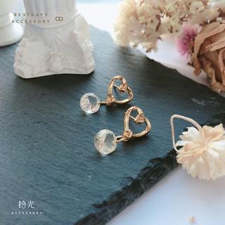 拾光 Accessory . 基本款造型 愛心鏤空鑽石造型耳環