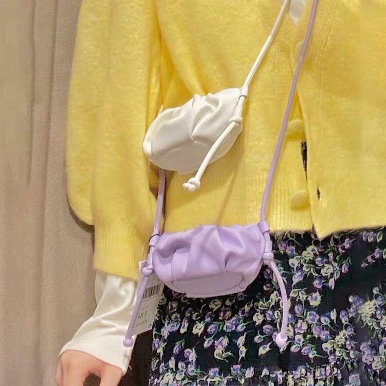 【免運】可愛mini紫色雲朵柔軟小單肩包包女 2822口紅小斜挎手拿包水餃包