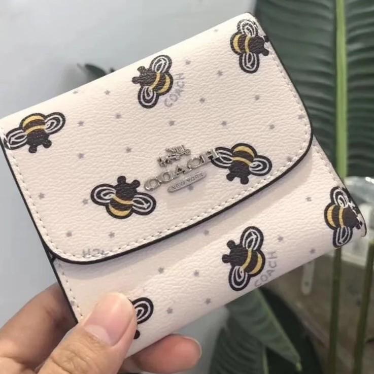 Coach小蜜蜂 時尚百搭 女生 多卡位錢包 零錢包