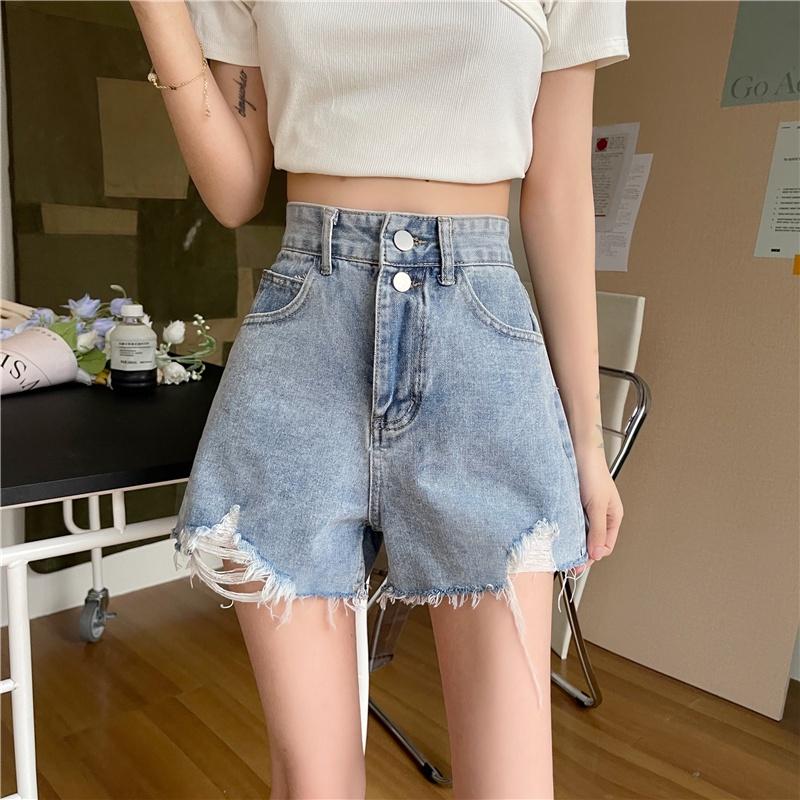 春夏款牛仔短褲女 171074寬鬆破洞超短褲寬鬆A字闊腿熱褲子