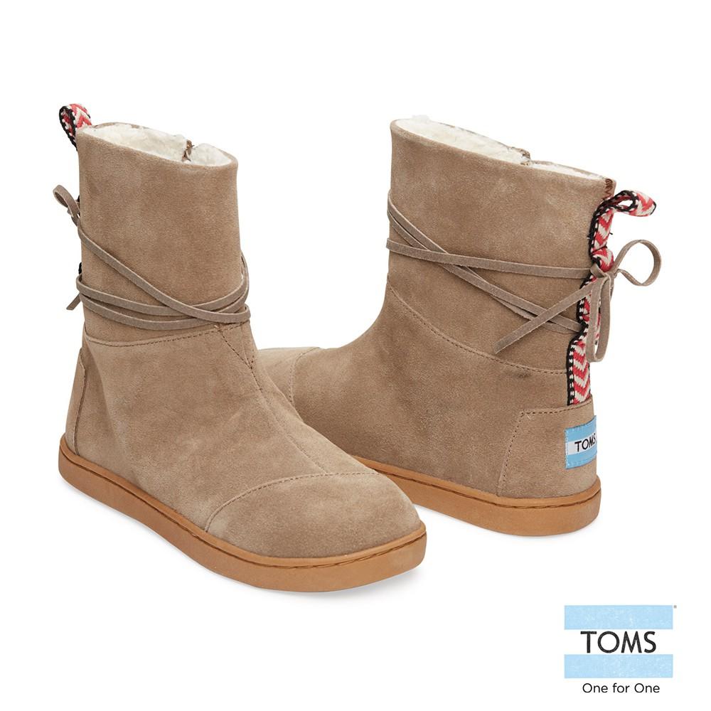 美國原廠 TOMS女鞋 棕色皮繩麂皮雪靴 休閒鞋