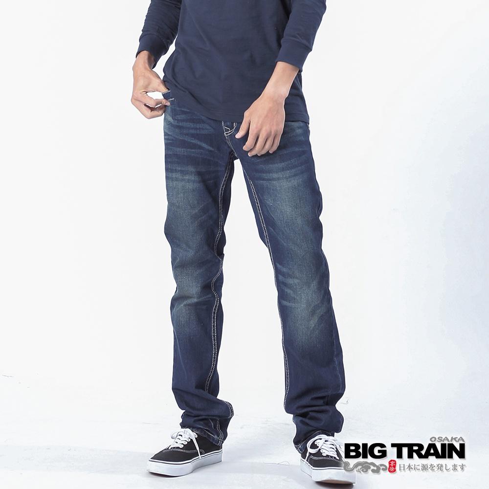 BIG TRAIN基本LOGO刺繡小直筒褲-深藍  -BM7259-78