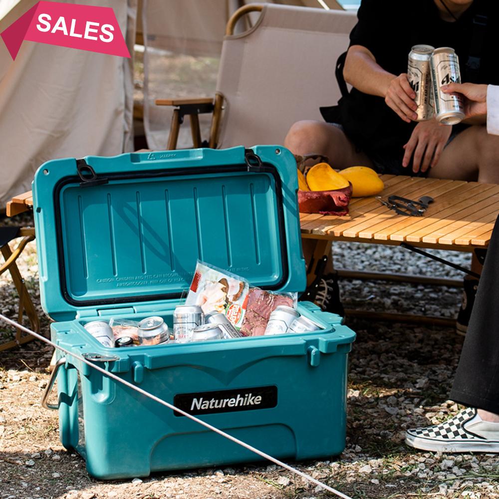 戶外野炊露營野餐收納折疊箱多功能車載 挪客Naturehike淩動滾塑保溫箱露營冷藏箱戶外大容量車載保鮮冰桶 塑料可側開