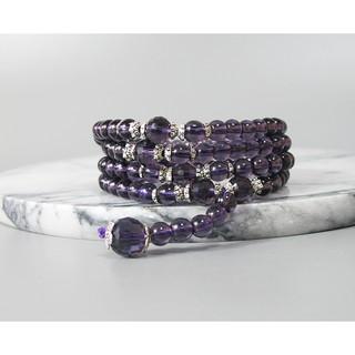 【古玩波波】特價出清 紫水晶多圈手鏈藏銀108顆念珠6mm--705392 臺中市