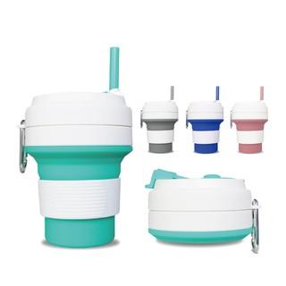 [現貨]矽膠折疊咖啡杯送吸管【指選好物】550mL  350ml 第三代 吸管水杯 折疊水杯 矽膠水杯 新北市